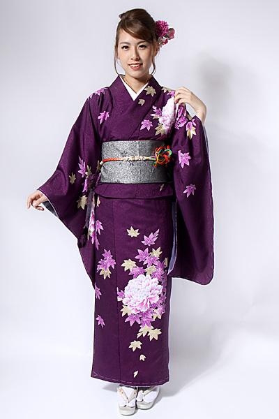 濃い紫色がシックな「小振袖」の着物です。金糸の入った牡丹と紅葉が華やかさを引き立てます。結婚式やパーティーに、帯を変えてお茶席などのシーンにも着用いただけ